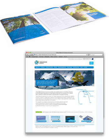 Tokio Marine Insurance website and brochure
